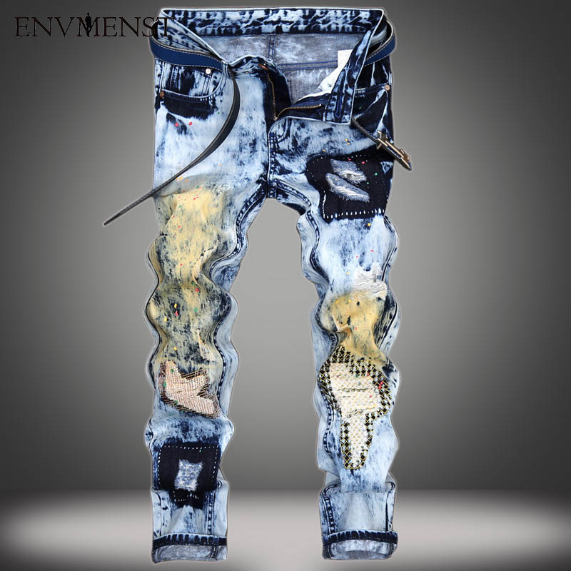2017 brand personality popular clothing style hole patch jeans autumn winter fashion men straight beggar denim trousers blue