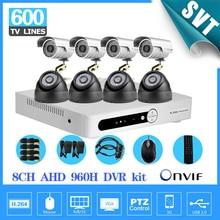 Sistema de CCTV 8CH DVR 8 PCS 600tvl Ao Ar Livre indoor CCTV sistema Kit DVR Sistema de Câmera de Segurança De 8 canais de vigilância Câmeras de cor sistema