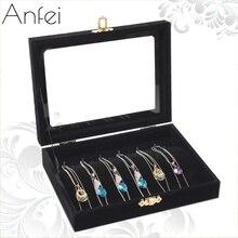 Бархатная шкатулка ожерелье витрины защитное стекло подвесной коробки получать случай ожерелья Box Ювелирные Дисплей лоток A212-4