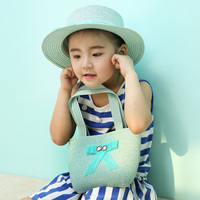 1 Pcs 2017 Spring Summer Bowknot Children Straw Hats And Bag Suit Brand Girl Sun Hats