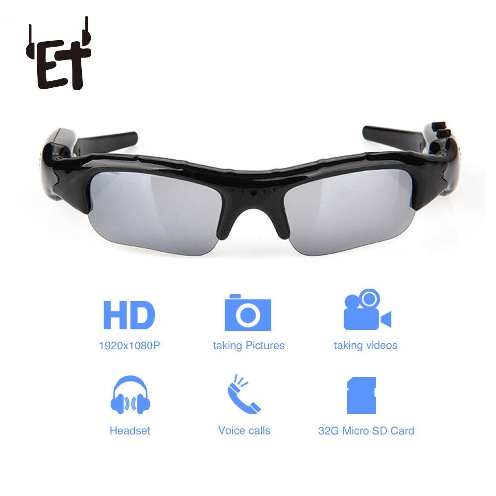 ET de ángulo ancho gafas de sol de la cámara Mini cámara gafas DV DVR grabador de vídeo al aire libre deportes videocámara TF Tarjeta de apoyo gafas de conducir