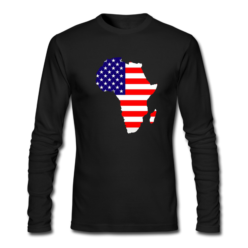 New Africa Map And Usa Flag T Shirts Men Fashion Long Sleeve Personality Mens Tee Tops Hip Hop O Neck Euro Size Cool Man T Shirt