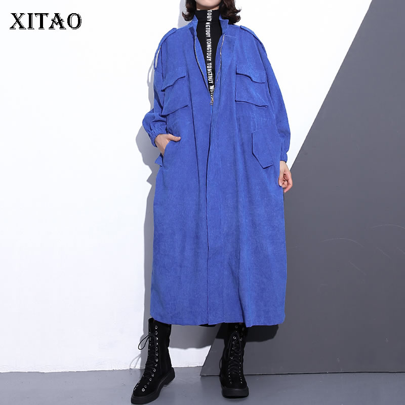 [XITAO] New Women 2018 Autumn Korea Fashion Wide-waisted Mandarin Collar Full Sleeve   Trench   Female Leopard Pocket   Trench   ZLL1082