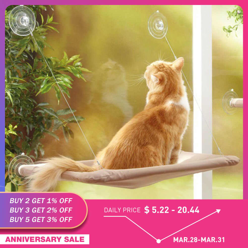 Cute Pet Hanging Beds Bearing 20kg Cat Sunny Seat Window Mount Hammock Comfortable