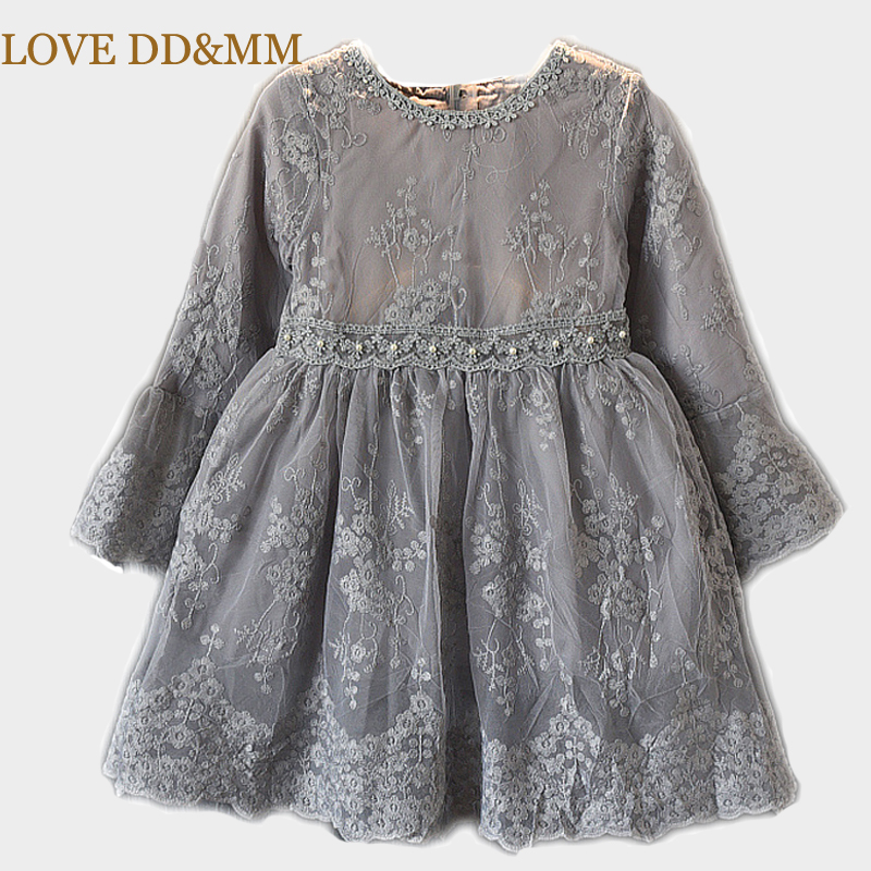 LOVE DD&MM Girls Dresses 2019 Spring New Children's Wear Girls Fashion Embroidered Lace Princess Puff Dress