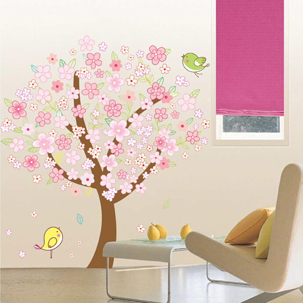 Popular pink flowers trees buy cheap pink flowers trees lots from cheap removable pink flower tree wall sticker home decor wall art decalchina mainland dhlflorist Image collections