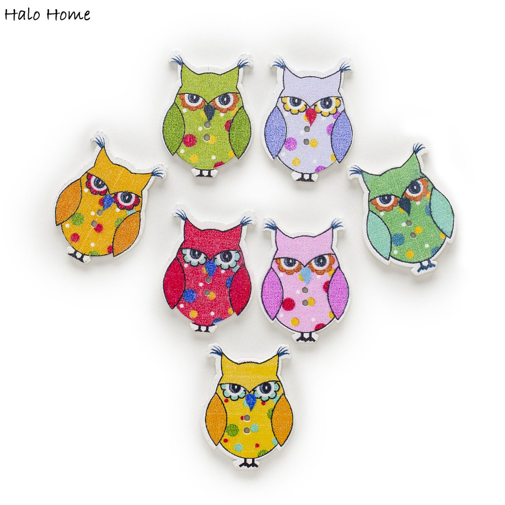 Cute Owl Decor Us 1 5 50 Off 30pcs 2 Hole Mixed Tie Cute Owl Wood Buttons Clothing Home Decor Crafts Sewing Scrapbooking Card Making Diy 35x26mm In Buttons From