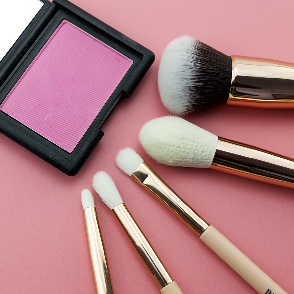 Beili 5pcs Makeup Brushes Matte Pink Handle Goat Hair Synthetic Hair