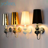 Guard Wall Lamp European Style Living Room Bedroom Corridor Study Lamp E27 Metal And Cloth Lampshade