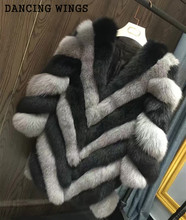 4 Colors High Quality Real Fox Fur Coat Thick Warm Autumn Winter Women's Elegant Striped Natural Fur Jackets