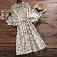 Autumn winter women floral print dress japan style new fashion long sleeve corduroy dress