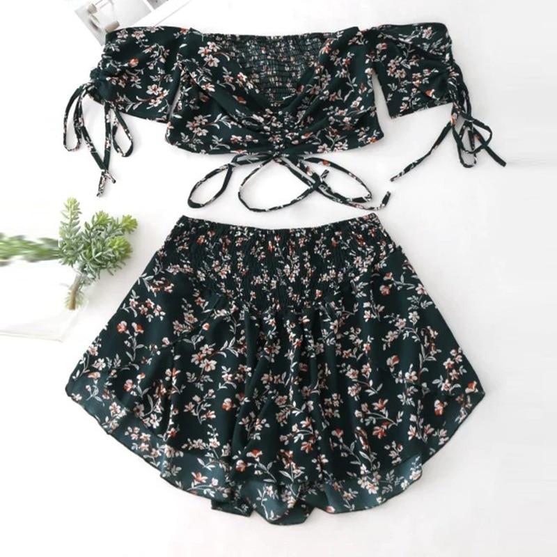 Women Off Shoulder Cinched Floral Crop Top Slash Neck Short Sleeves High Waist Shorts Set