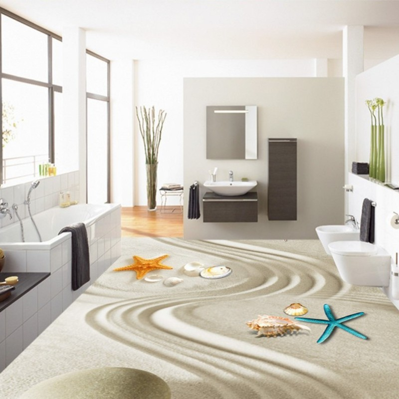 Free Shipping 3D starfish shell beach floor painting decorating bedroom living room sea view floor wallpaper