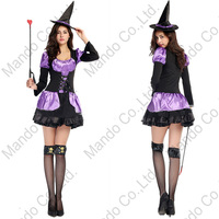 Adult Women Sexy Witch Costume Dress Halloween Christmas Purple Swallowtail Suit