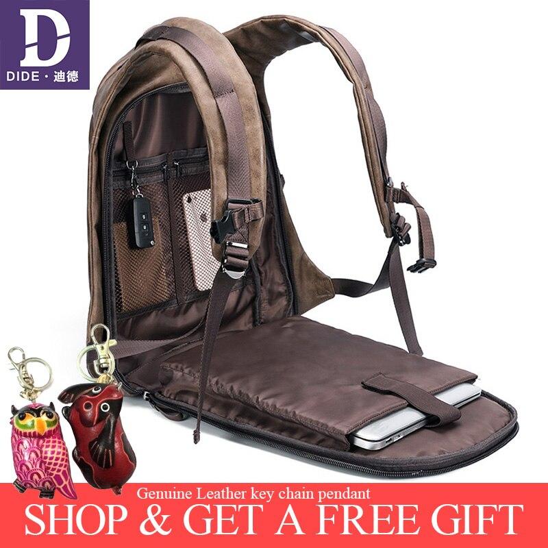 DIDE 2019 Vintage hommes sacs à dos USB charge sac à dos ordinateur portable sac d'école homme sacs de voyage sac à dos en cuir imperméable à l'eau