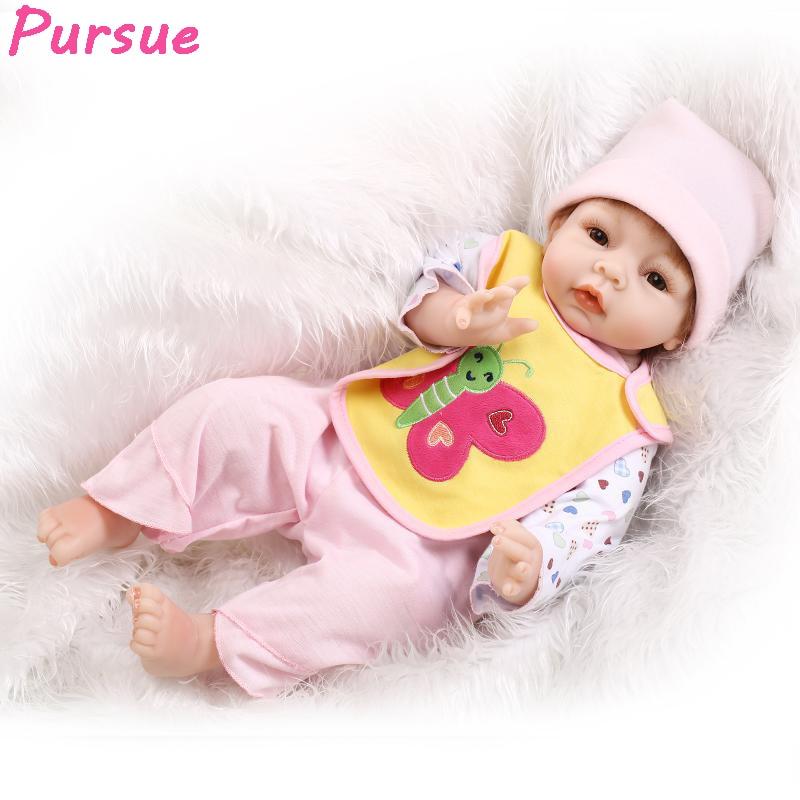 цена на Pursue 22 inch 55cm Newborn Baby Doll Reborn Babies Silicone Baby Dolls for Girls Boys boneca reborn silicone bebes reborn 55 cm