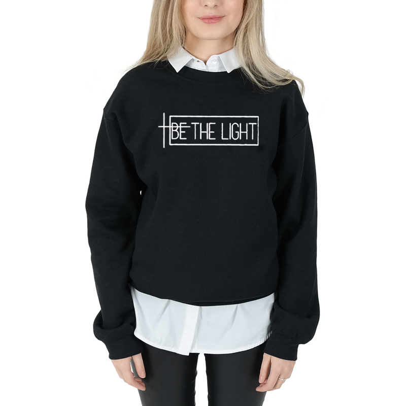 0c8ea336595f4 US $9.84 18% OFF|OKOUFEN BE THE LIGHT Sweatshirt Harajuku Casual Women  Hoodies Crewneck Long Sleeved Pullover Christian Clothes Graphic-in Hoodies  & ...