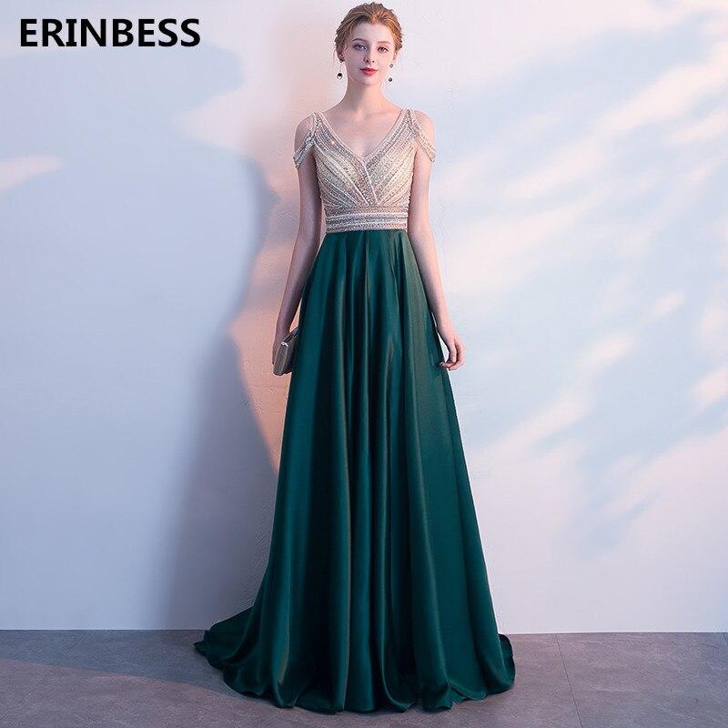 Evening     Dress   Vestidos De Festa Vestido Longo Para Casamento Long   Evening     Dresses   Long V-Neck Dark Green   Evening   Gowns 2019