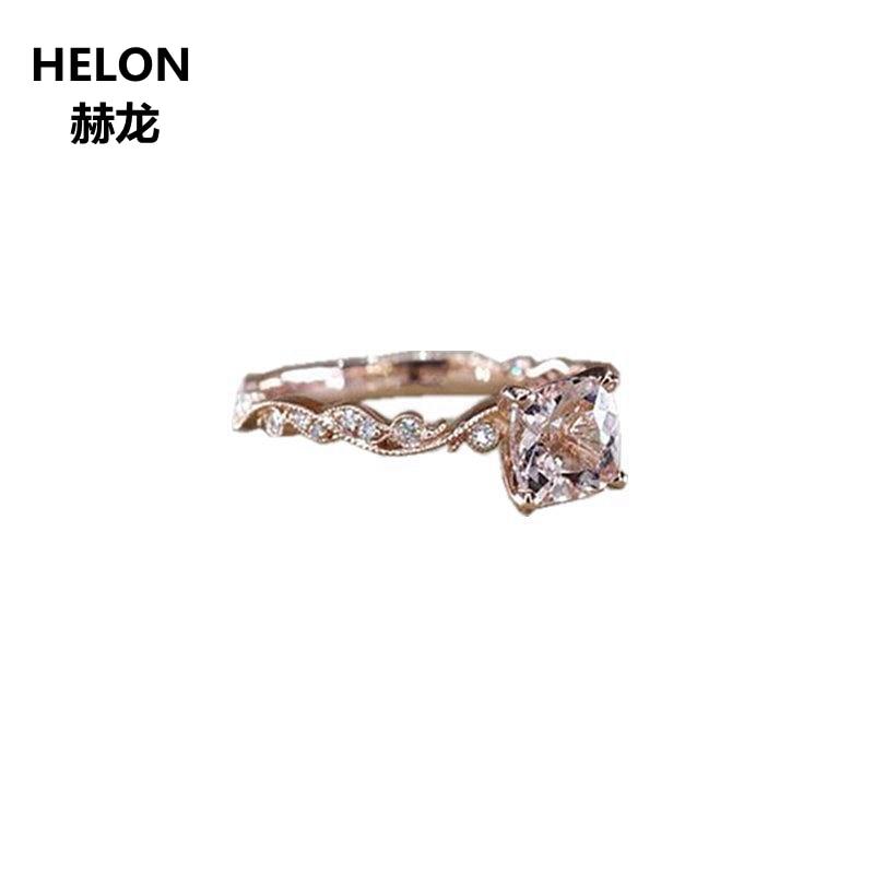 Natural Diamonds Stud Earrings Cushion Semi Mount Solid 14K Rose Gold Engagement
