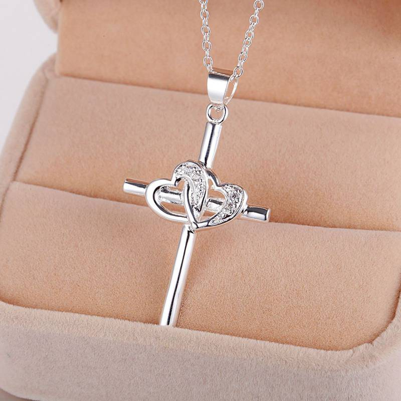 Silver Plated Necklace Cross Pendant Jewelry For Women AN107