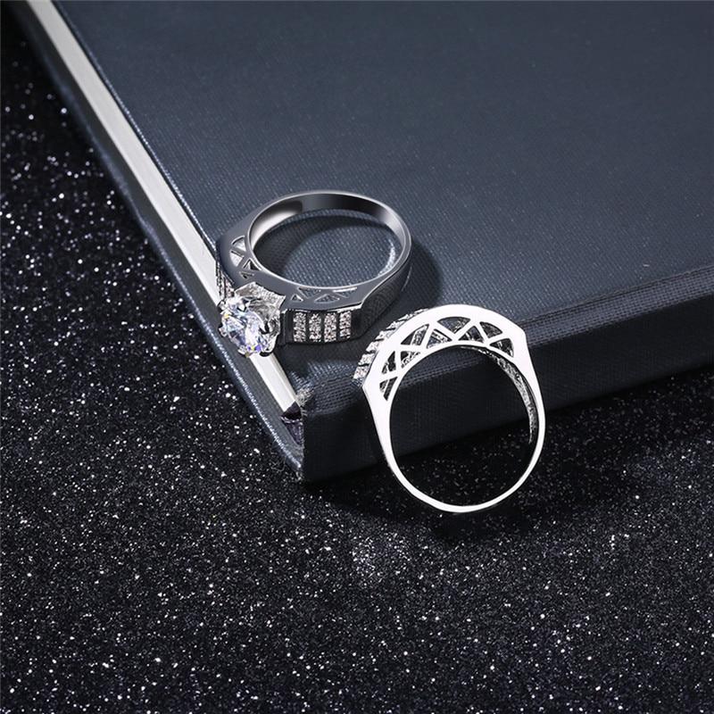 Для мужчин кольцо дуги более Циркон Белое золото Цвет кольцо оригинальный личности двойной Кольца набор женщина ювелирные изделия