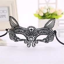 Happy Sale Halloween Masquerade Sexy Lady Black White Lace Mask hollow out Catwoman Ideal for gala ball and house party Nov3(China)