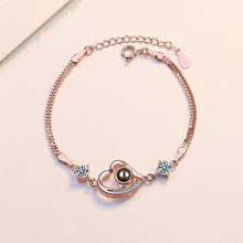 Elegant 925 Sterling Silver Bracelet For Women Projection I Love You Rose Gold Crystal  Heart Girl Jewelry Gifts
