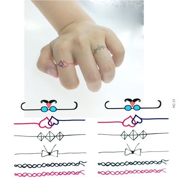 Pegatinas De Tatuaje De Anillo Falso De Dedo Miniatura A Prueba De