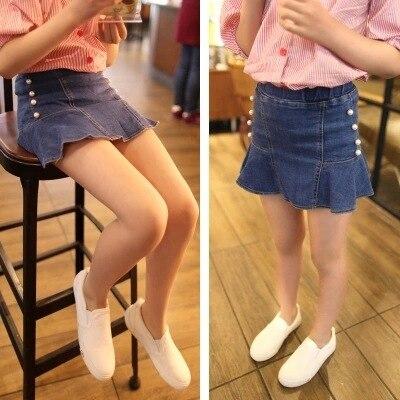 Kids Girls Denim Skirts with Pearls 2016 Spring Summer Fall Kids Clothes Girls Jeans Skirt Little Girls Mini Skirt Tutu Clothing