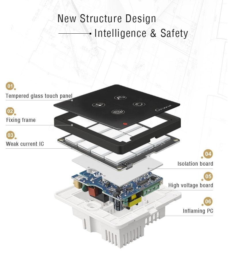 Умный домашний переключатель с сенсорной панелью, настенный выключатель, 4 комплекта, переключатель с пультом дистанционного управления, управление вне площадки-HOS-4
