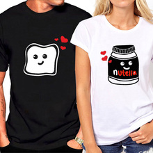 Couple T Shirt for Love Short Sleeves Funny Graphic Toast and Nutella Tshirt Women 2019 Streetwear Clothes T-shirt
