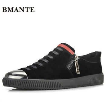 Summer Male Adult Shoes Casual Suede Flats zip Spring Black  Shoes New Men Genuine Leather Shoes Luxury Trainers