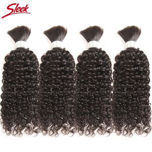 Image 5 - Sleek Remy Human Hair Indian Kinky Curly Bundles Hair For Braiding In Natural Color 8 To30 Inch Crochet Braids No Weft Hair Bulk