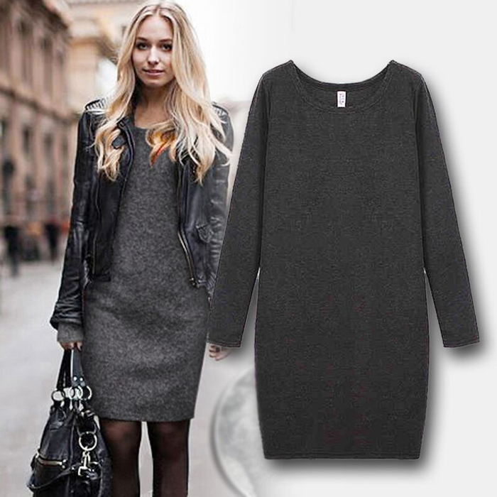f6fb32006582d Women Winter Dress 2017 Autumn Winter Midi Long Sleeve Wool Dresses Women  Clothing Sexy Bodycon Sweater Dresses-in Dresses from Women's Clothing on  ...