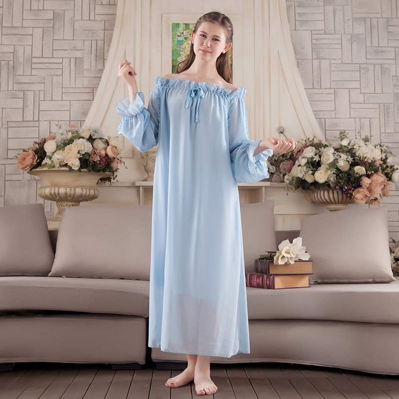 2019 New Women Sweat Cotton Vintage Lace Breathable Sleepwear Robes Cute  Casual Lotus Leaf Long Loose Nightgowns d54aaea48