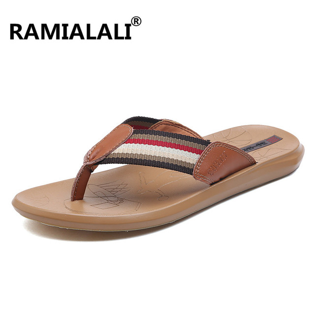 3369c5c8ef19 Ramialali Luxury Brand New Men s Flip Flops Leather Slippers Summer Fashion Beach  Sandals Shoes for Men