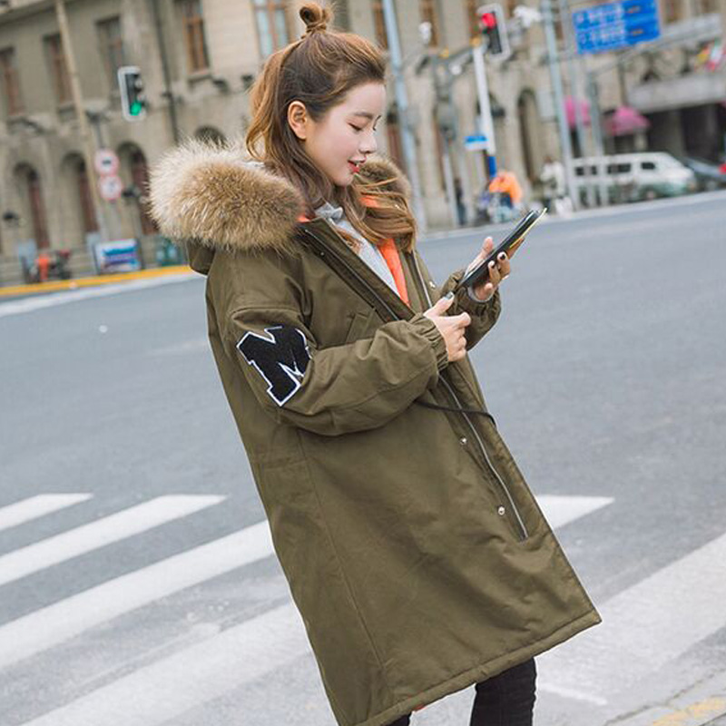 Real Natural Raccoon Fur 2017 New Fashion Winter Jacket Women Thick Warm Female Jacket Loose Long Coat Female Parkas Amry Green real fur coat long parka 2017 new winter women big natural raccoon fur hooded parkas warm fashion outwear casual style