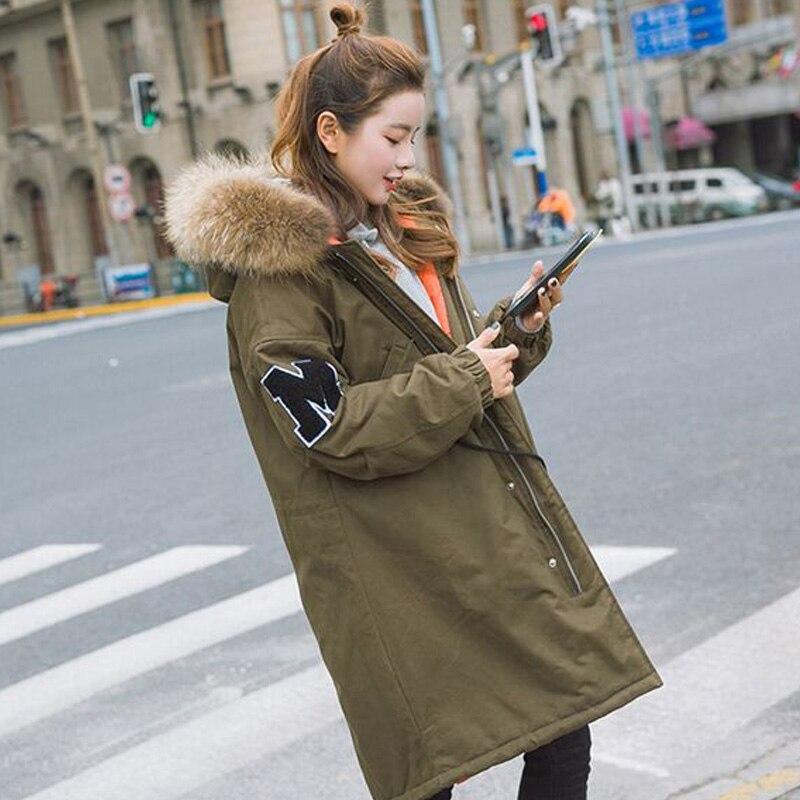 Real Natural Raccoon Fur 2017 New Fashion Winter Jacket Women Thick Warm Female Jacket Loose Long Coat Female Parkas Amry Green