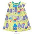 2017 nova marca de qualidade 100% algodão de verão do bebê meninas vestido de manga curta crianças clothing crianças do vestido do verão das meninas do bebê roupas