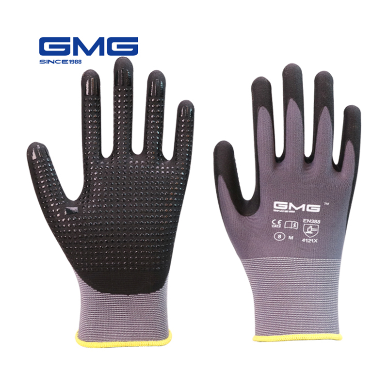 Work Gloves GMG Nylon Spandex CE Certificated EN388 Microfine Foam Nitrile Gloves Dots Safety Working Gloves Women