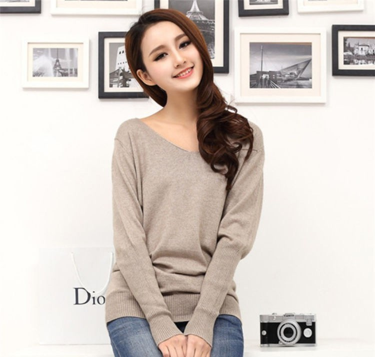 19 Spring autumn cashmere sweaters women fashion sexy v-neck sweater loose 100% wool sweater batwing sleeve plus size pullover 5