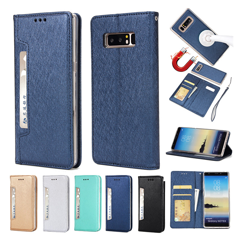 Note 8 Flip Magnetic Cover PU Leather Stand Case with Card Slots for Samsung Galaxy Note 8 Adsorpted Cover for Galaxy Note 8