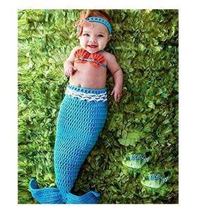 Accessoires de photographie pour bébés | Crochet tricoté, queue de sirène barboteuse, tenue bebes accesorios recien nacido