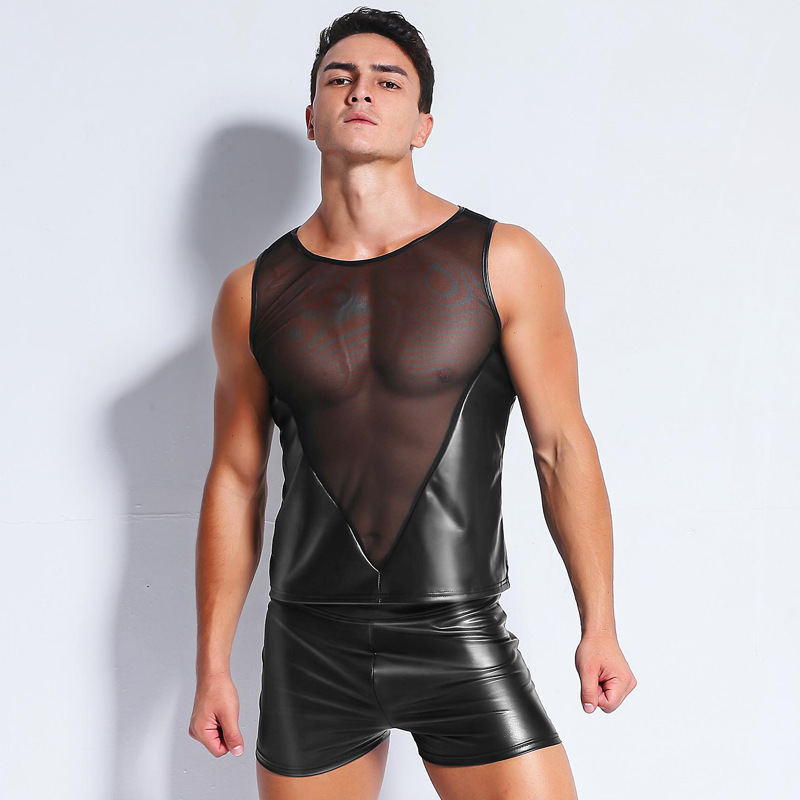 Sexy Gothic Men's Sheer Mesh Faux Leather Sleeveless  T-Shirt Mens Funny t shirts Exotic Fitness Breathable Undershirt