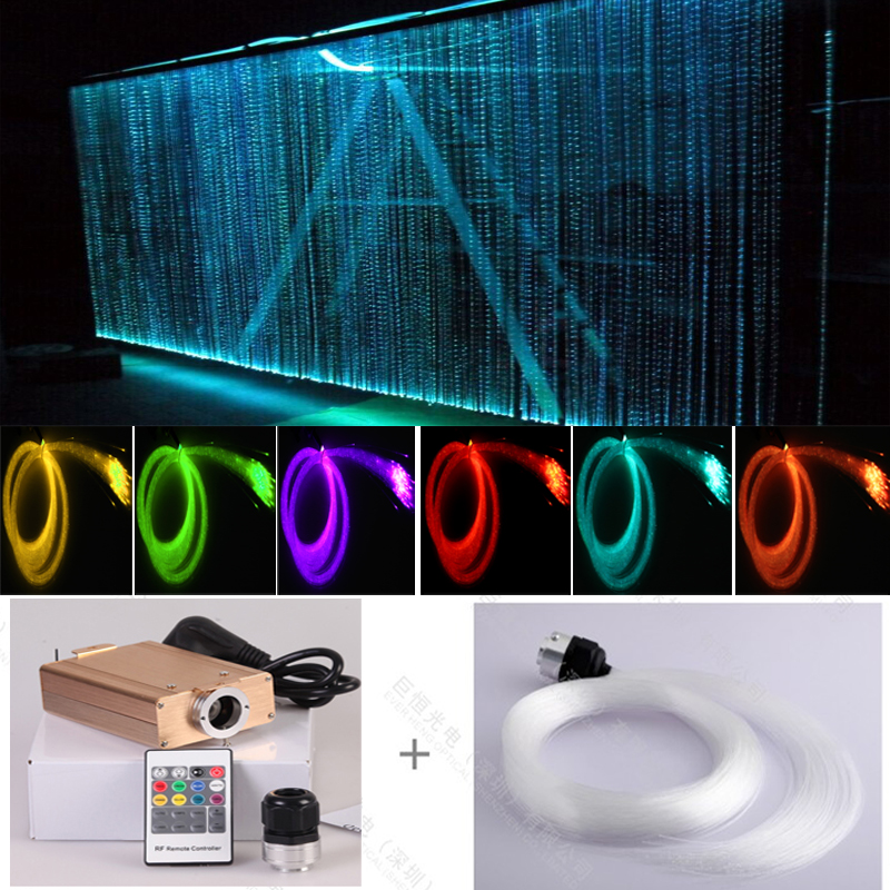 Rideau de lumière en cascade à fibres optiques de couleur RVB