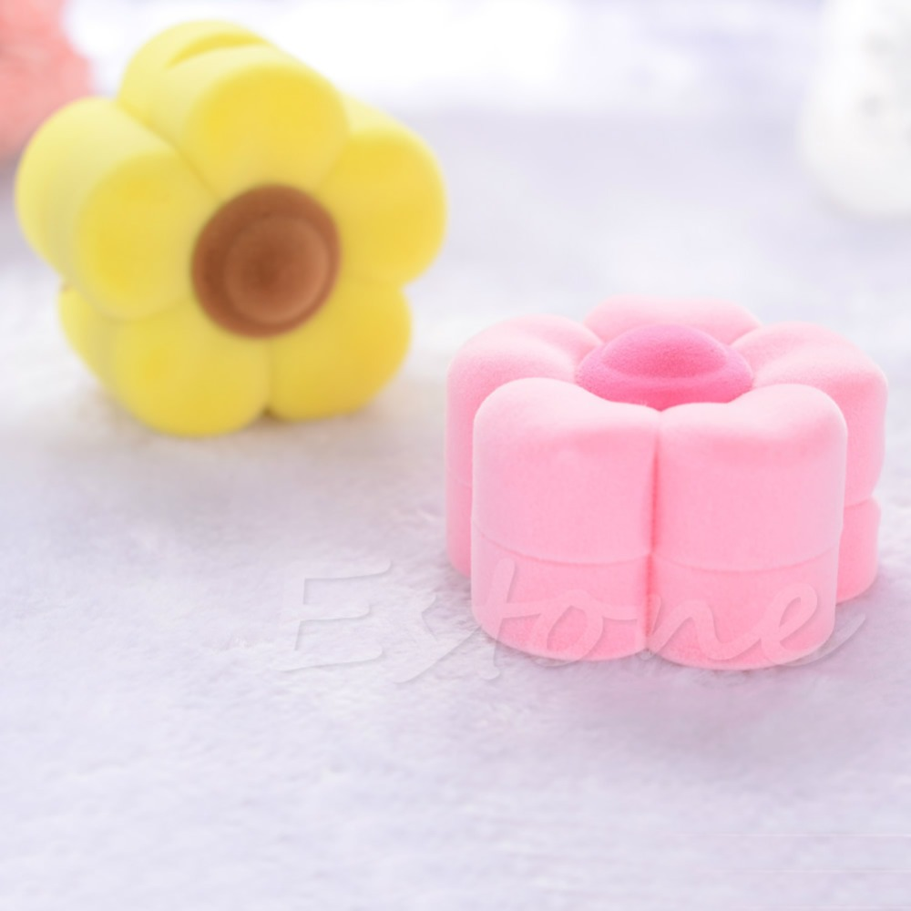 Cute Flower Shape Yellow Pink Velvet Jewelry Gift Box Necklace Earring Ring Case