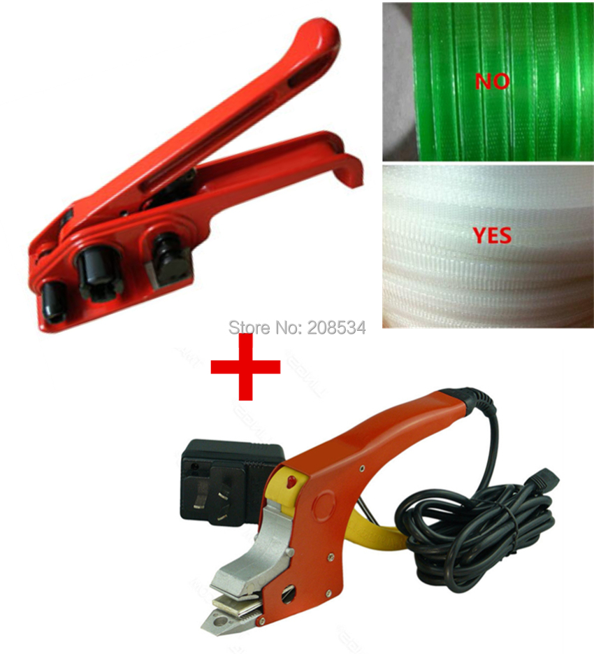 Hand Strapping Tensioner and Electric Heat Welding Strapping Sealer ,Manual PP belt Strapping Tool Combination BandingTool zonesun long hand pp pet plastic strapping cutter for pp pet strapping belt band tensioner and sealing max cut 16mm