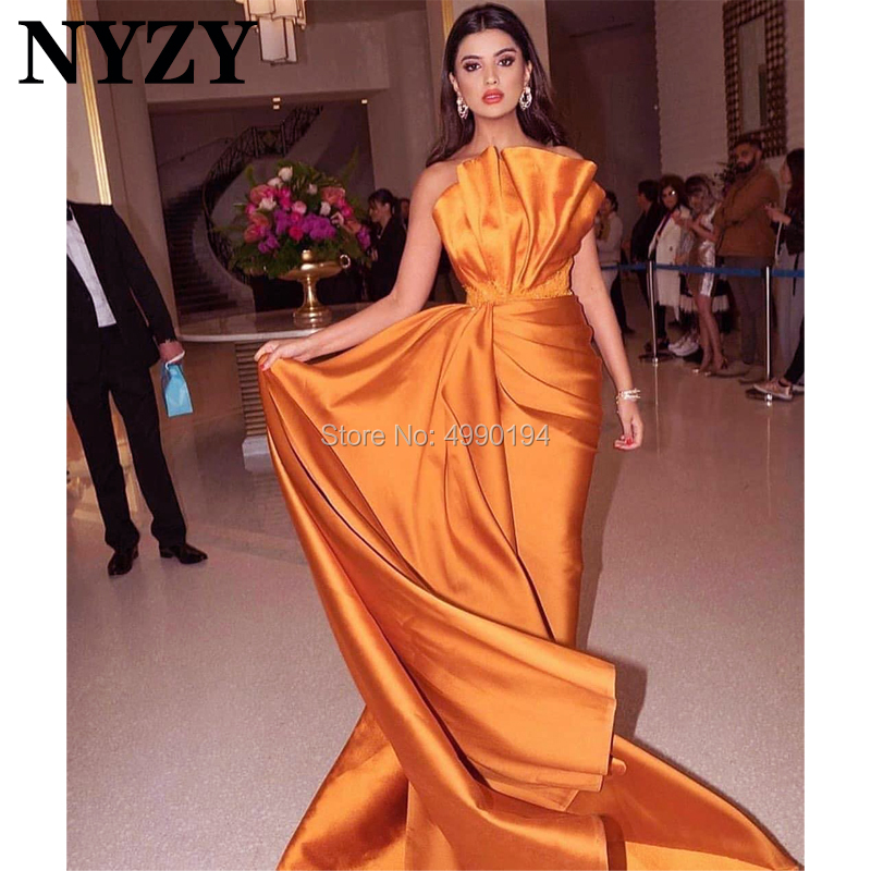 Mermaid Satin Red Carpet Celebrity Dresses Evening Gown Orange NYZY E204 Robe De Soiree Vestido De Festa Longo
