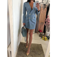 2018 New Arrival Fashion Blue Long Sleeve Sexy Jacket Solid Club Party Dress Outfit Casual Formal Midi Elegant Dresses Wholesale