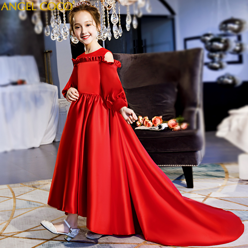 Luxury Red Long sleeve Girls Dresses for Wedding Kids Pageant Gown Girls Clothes Birthday Evening Gowns Robe Rouge Custom Made